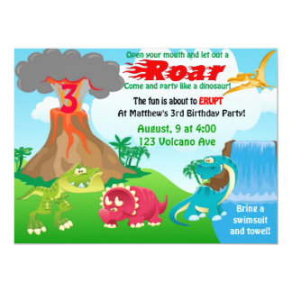 """Invitaciones del volcán de Dinousaur Invitación 6.5"""" X 8.75"""""""
