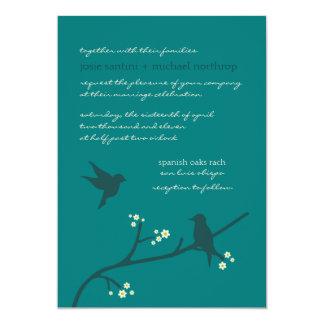 Invitaciones del vuelo del amor {pavo real} invitación 12,7 x 17,8 cm