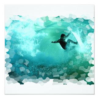 """Invitaciones del Wipeout que practican surf Invitación 5.25"""" X 5.25"""""""