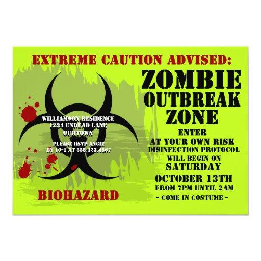 Invitaciones del zombi Party2 del Biohazard Invitación 12,7 X 17,8 Cm