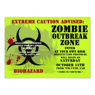 """Invitaciones del zombi Party2 del Biohazard Invitación 5"""" X 7"""""""