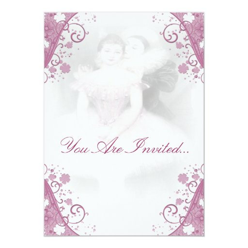 Invitaciones descoloradas del boda de la bailarina invitación 12,7 x 17,8 cm