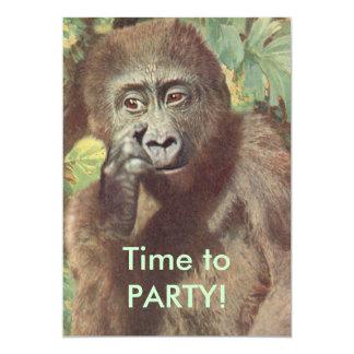 """Invitaciones divertidas del fiesta del gorila de invitación 5"""" x 7"""""""