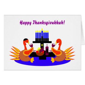 Invitaciones divertidas felices de Thanksgivukkah  Tarjeta