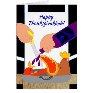 Invitaciones divertidas felices de Thanksgivukkah  Tarjeton