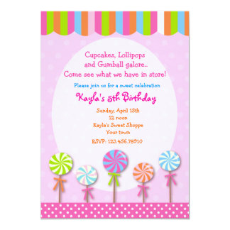 Invitaciones dulces del cumpleaños de Candyland Invitación Personalizada