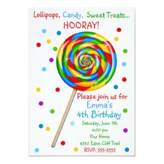 Invitaciones dulces del cumpleaños del Lollipop de Comunicado