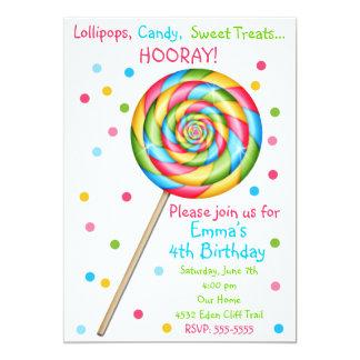 Invitaciones dulces del cumpleaños del Lollipop de Comunicados Personales