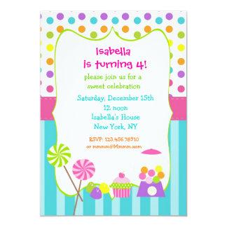 """Invitaciones dulces del cumpleaños del shoppe de invitación 5"""" x 7"""""""