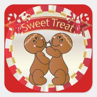 Invitaciones dulces del hombre de pan de jengibre calcomanía cuadrada personalizada