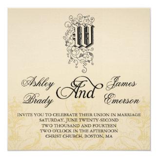 """Invitaciones elegantes 2 del boda del monograma W Invitación 5.25"""" X 5.25"""""""
