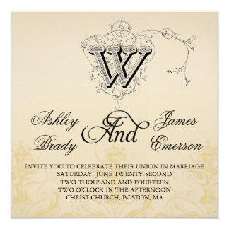 """Invitaciones elegantes 3 del boda del monograma W Invitación 5.25"""" X 5.25"""""""