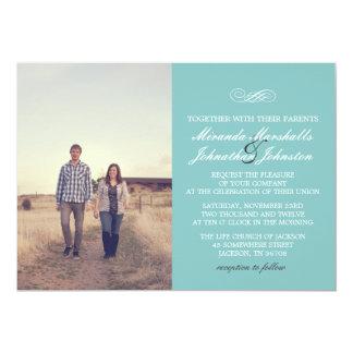 """Invitaciones elegantes azules del boda de la foto invitación 5"""" x 7"""""""