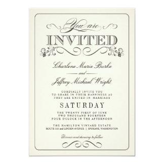 """Invitaciones elegantes blancas del boda del invitación 5"""" x 7"""""""