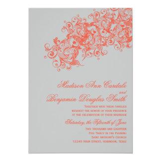 """Invitaciones elegantes coralinas grises del boda invitación 5"""" x 7"""""""