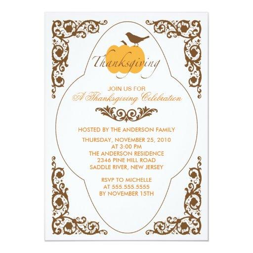 Invitaciones elegantes de la acción de gracias de invitacion personalizada