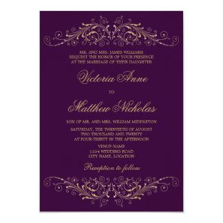 Invitaciones elegantes de la berenjena del damasco invitación 12,7 x 17,8 cm