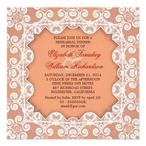 invitaciones elegantes de la cena del ensayo anuncio personalizado