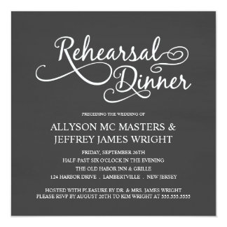 """Invitaciones elegantes de la cena del ensayo de la invitación 5.25"""" x 5.25"""""""
