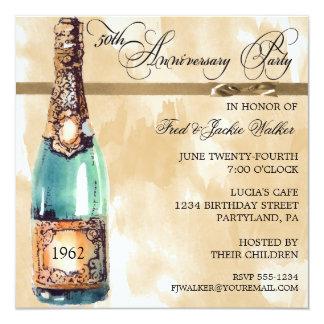 """Invitaciones elegantes de la fiesta de aniversario invitación 5.25"""" x 5.25"""""""