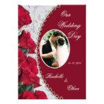 Invitaciones elegantes de la foto del boda del ros invitaciones personales