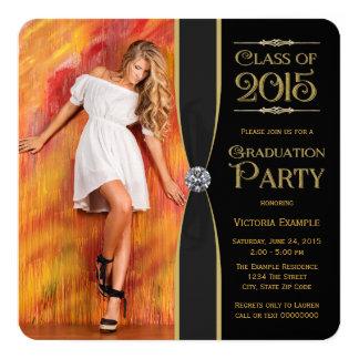 Invitaciones elegantes de la graduación del negro invitación 13,3 cm x 13,3cm