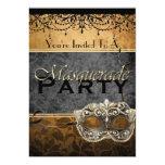 Invitaciones elegantes de la mascarada de Brown Invitación 12,7 X 17,8 Cm