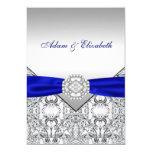 Invitaciones elegantes de la plata y del boda del anuncio personalizado