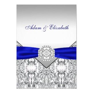 Invitaciones elegantes de la plata y del boda del invitación 12,7 x 17,8 cm