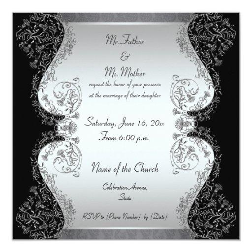 """Invitaciones elegantes de la plata y del boda del invitación 5.25"""" x 5.25"""""""