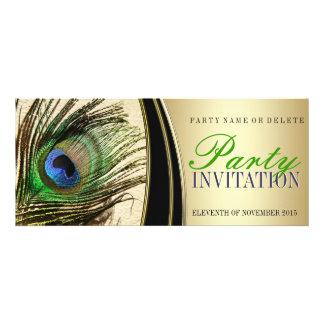 Invitaciones elegantes de la pluma del pavo real d comunicados personales