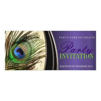 """Invitaciones elegantes de la pluma del pavo real invitación 4"""" x 9.25"""""""
