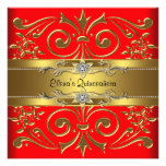 Invitaciones elegantes de Quinceanera del rojo y d Comunicados Personalizados