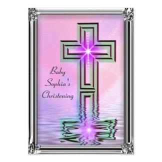 Invitaciones elegantes del bautizo de la niña invitación 11,4 x 15,8 cm