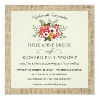 Invitaciones elegantes del boda de la arpillera comunicado