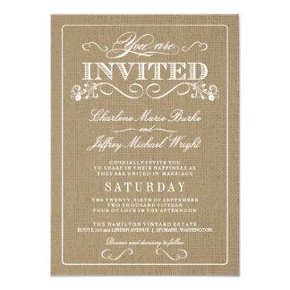 """Invitaciones elegantes del boda de la arpillera invitación 4.5"""" x 6.25"""""""