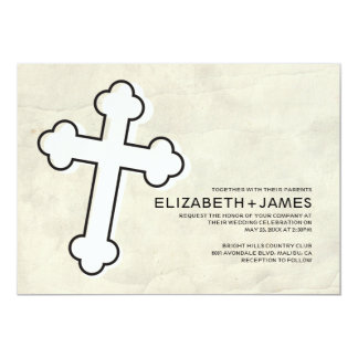 Invitaciones elegantes del boda de la cruz del invitación 12,7 x 17,8 cm