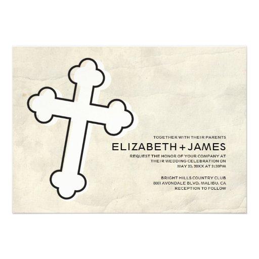 Invitaciones elegantes del boda de la cruz del hie invitación personalizada