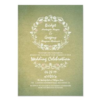 """Invitaciones elegantes del boda de la guirnalda invitación 5"""" x 7"""""""