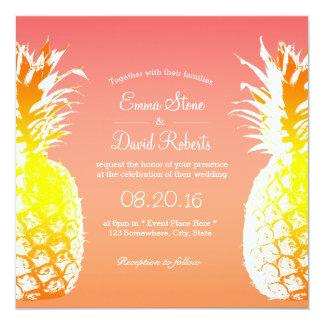 """Invitaciones elegantes del boda de la piña invitación 5.25"""" x 5.25"""""""