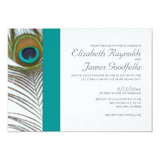 Invitaciones elegantes del boda de la pluma del invitación personalizada