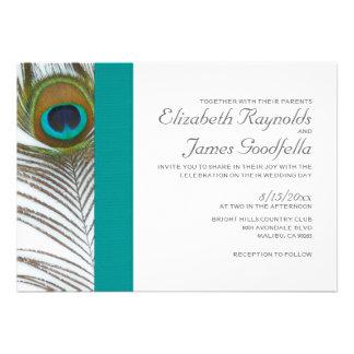 Invitaciones elegantes del boda de la pluma del pa invitación personalizada