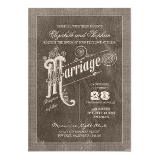 """invitaciones elegantes del boda de la tipografía invitación 5"""" x 7"""""""