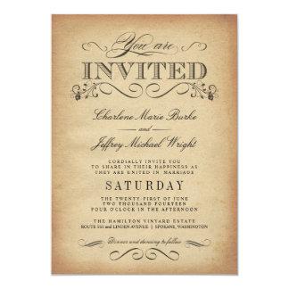 Invitaciones elegantes del boda de la tipografía invitación 12,7 x 17,8 cm