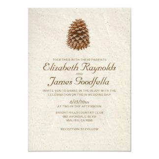 Invitaciones elegantes del boda del cono del pino invitación personalizada