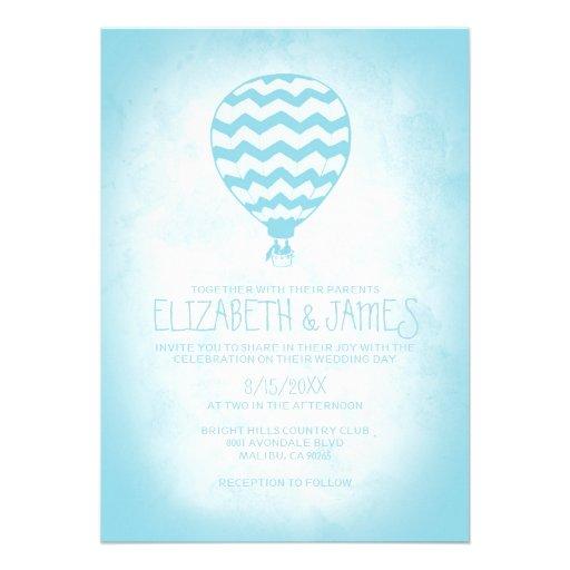 Invitaciones elegantes del boda del globo del aire invitación personalizada