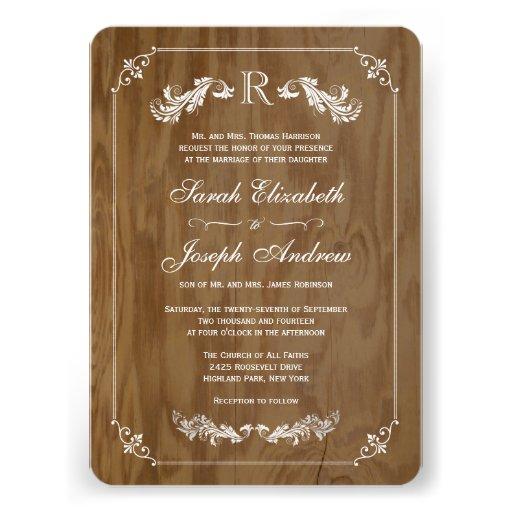 Invitaciones elegantes del boda del monograma de m comunicado personal