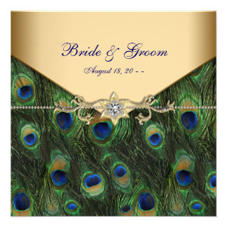 Invitaciones elegantes del boda del pavo real del anuncio