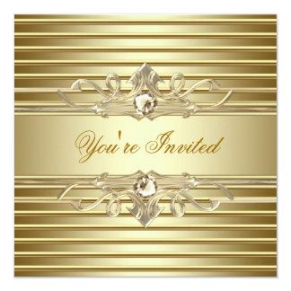Invitaciones elegantes del fiesta del oro comunicados personalizados