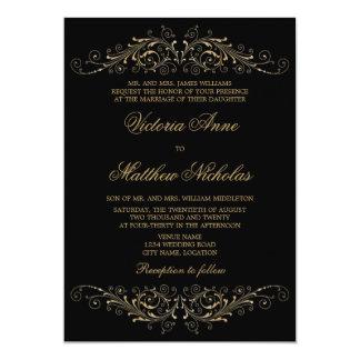 Invitaciones elegantes del Flourish y del damasco Invitación 12,7 X 17,8 Cm